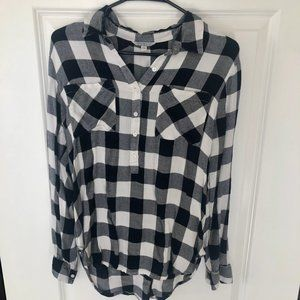 LUCKY BRAND BLACK AND WHITE FLANNEL SHIRT